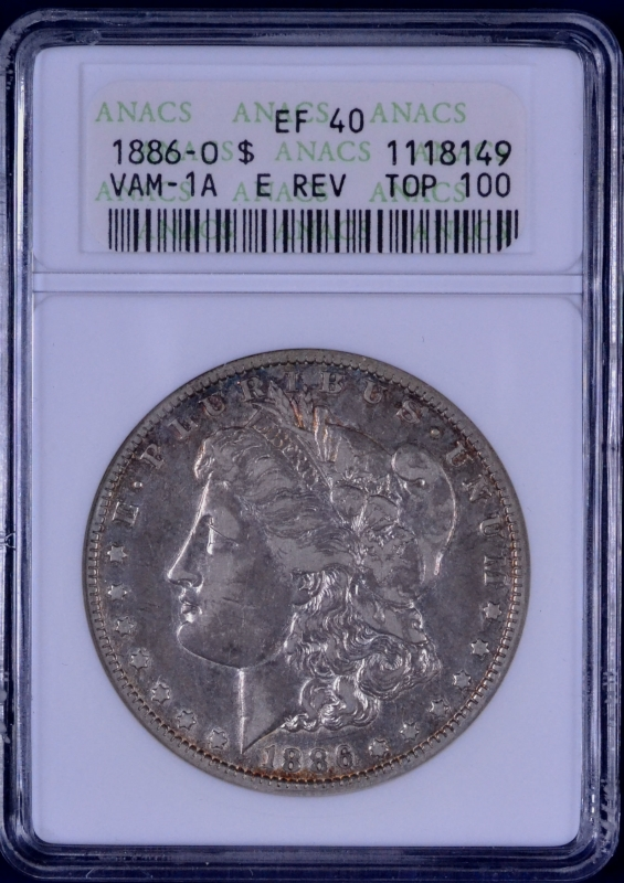 ERROR 1886-O Morgan Dollar VAM-1A ANACS EF 40 1118149